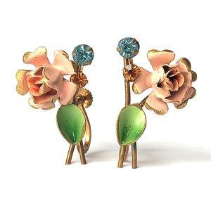 Vintage Austrian Flower Screw Back Clip Earrings